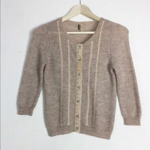 Free People Ribbon And Lace Vintage Cardigan